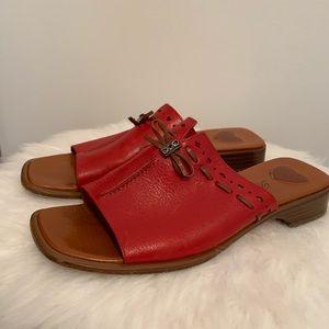 Brighton Java Red leather sandals